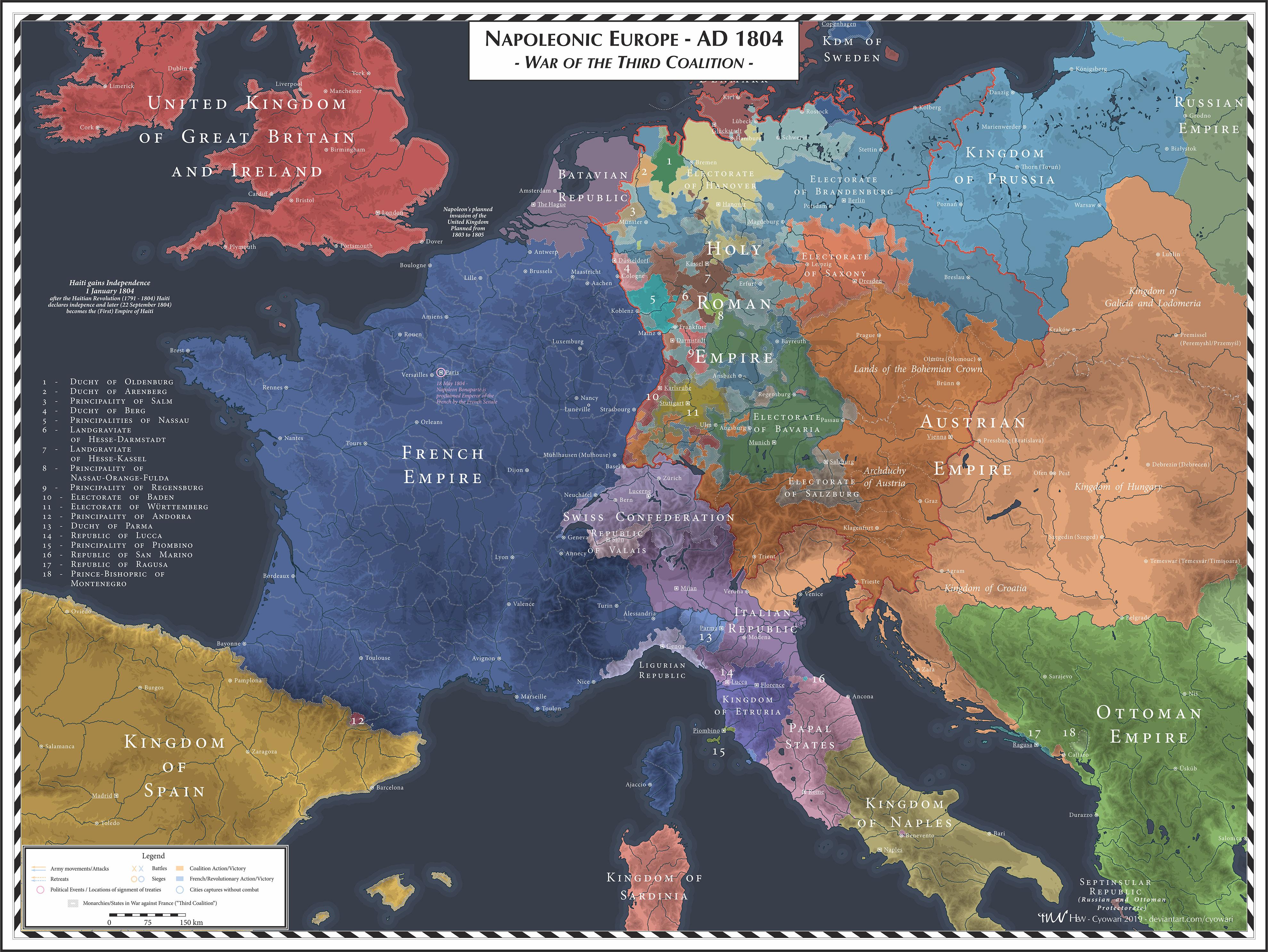Napoleonic Europe - 1804 - Third Coalition