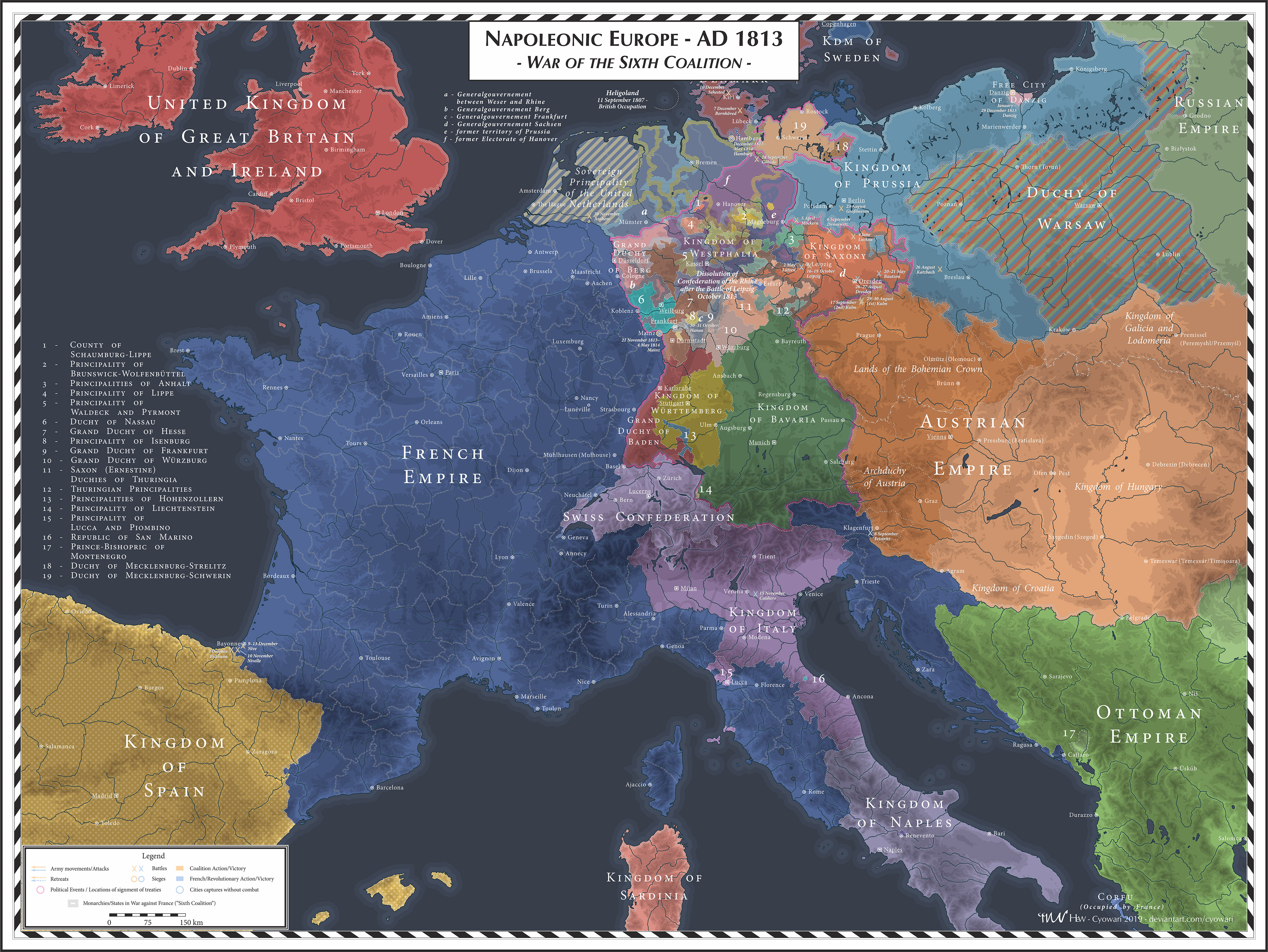 Napoleonic Europe - 1813 - Sixth Coalition