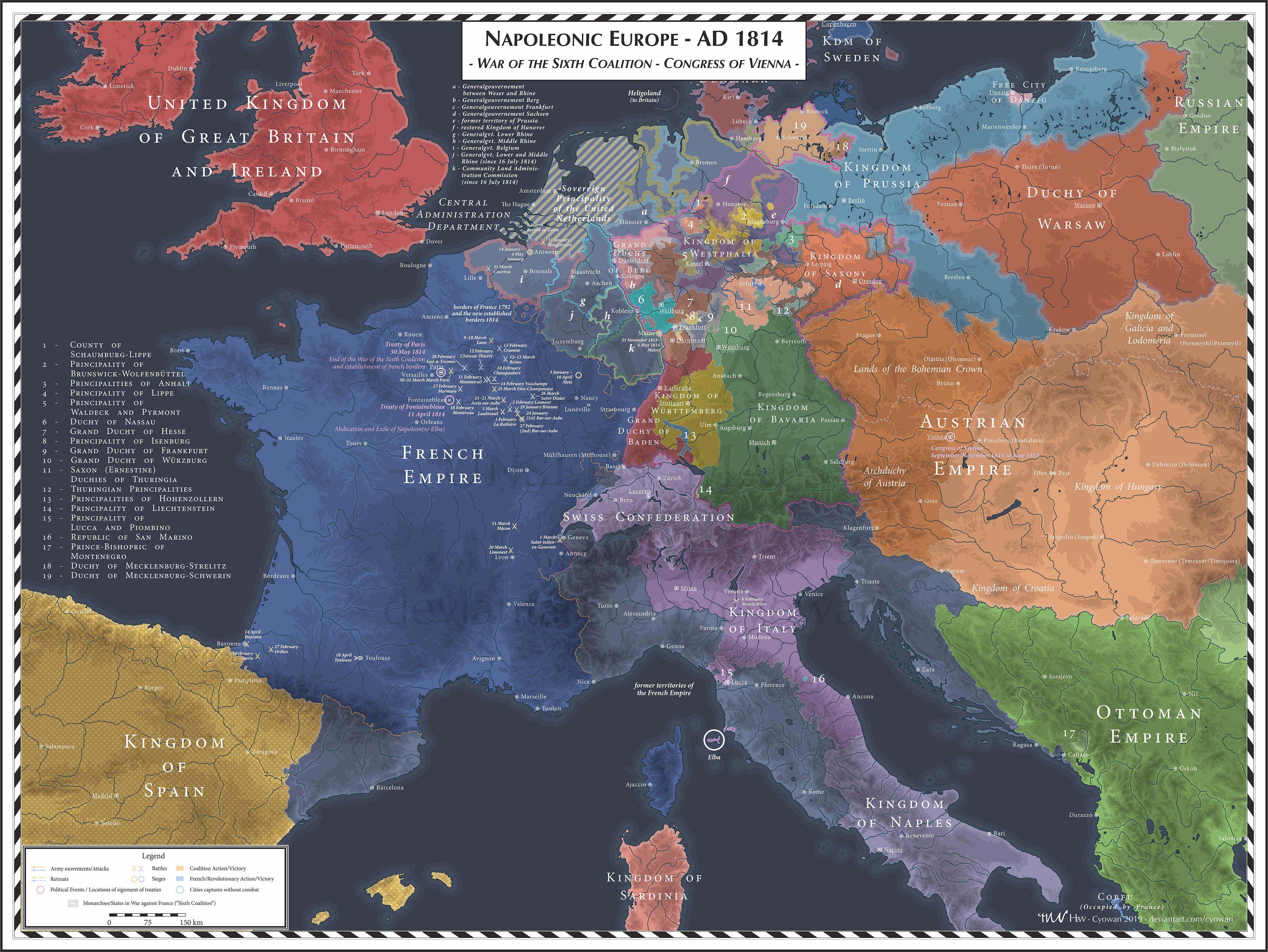 Napoleonic Europe - 1814 - Sixth Coalition