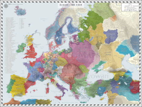 Europe (Detailed) - AD 1444 - EU4 Colours, NV