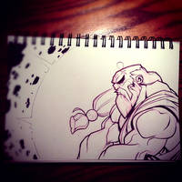 Street Fighter Sketch : Gouken by Zatransis