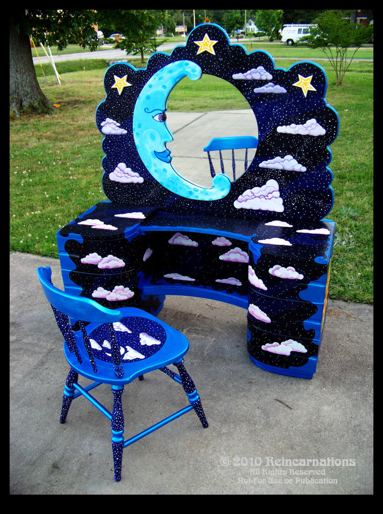 Celestial Vanity and Chair by ReincarnationsDotCom