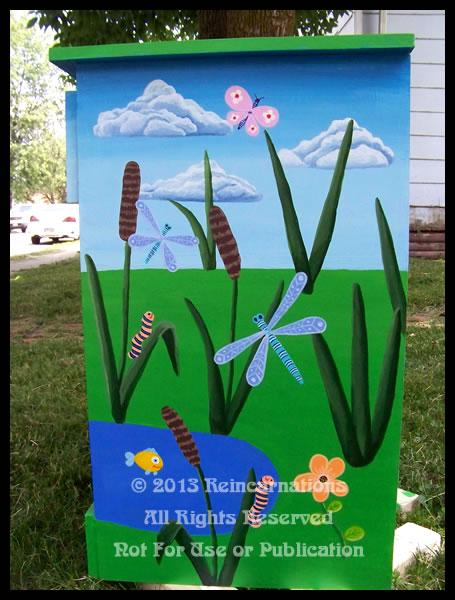 Happy Hoppy Frog Pond Nightstand - Side View by ReincarnationsDotCom