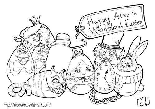 140421 Alice In Wonderland Easter Eggs - lineart
