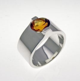Silver Ring with Citrine by orfeujoias