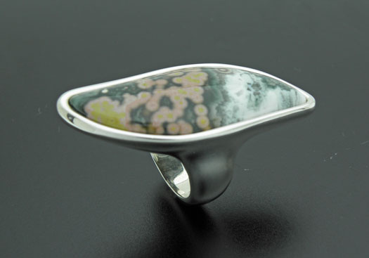 big sterling silver ring with ocean jasper by orfeujoias
