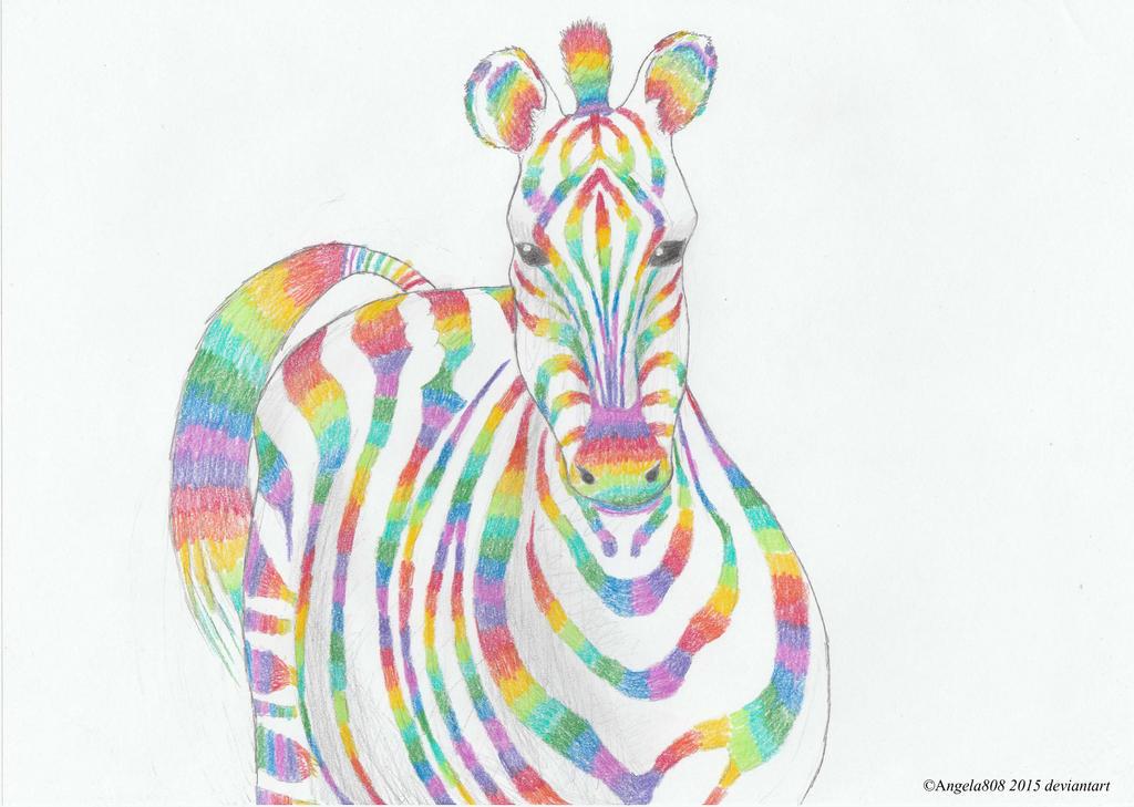 Rainbow zebra by angela808
