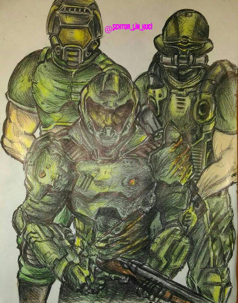 Doom Space Marines (Doomguys) by SektorLinKuei