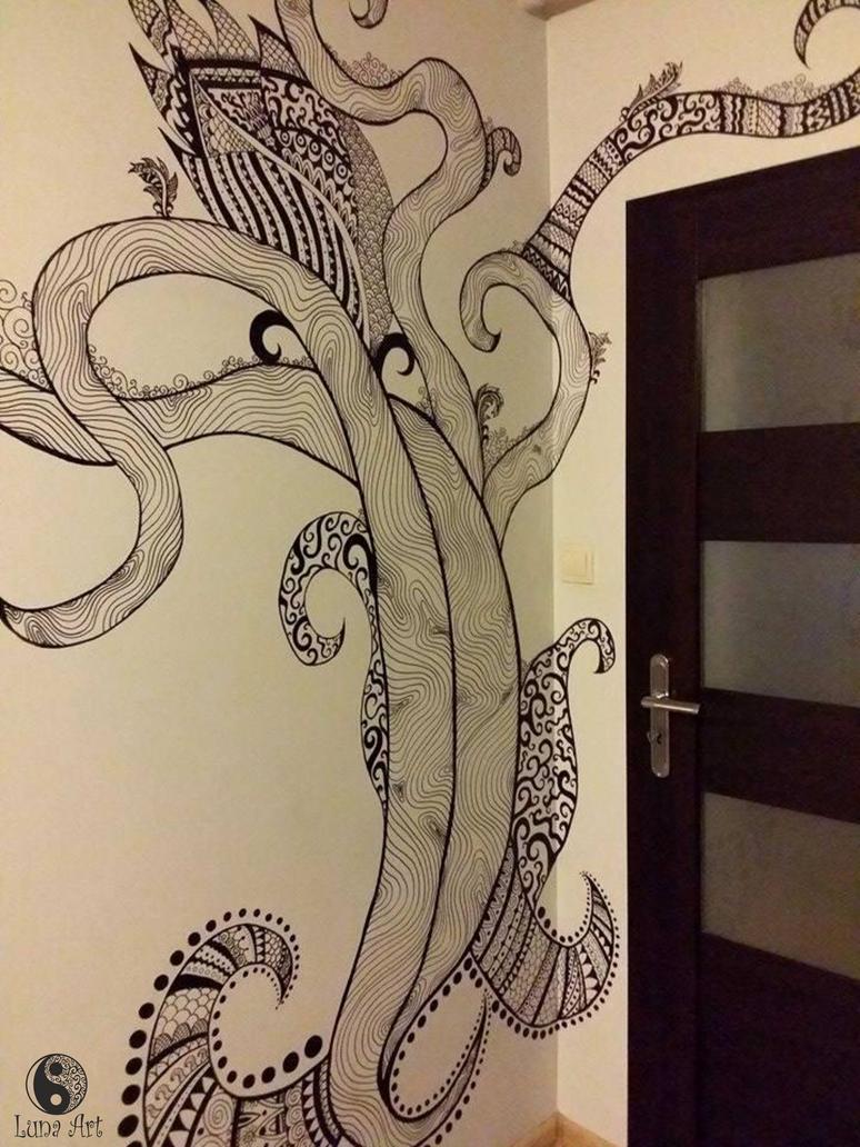 Zentangle tree on the wall part 1 by xLUNA-ARTx