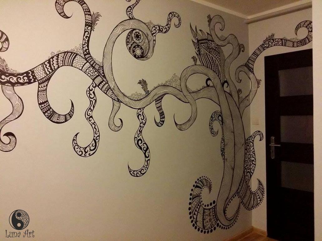 Zentangle tree on the wall part 2 by xLUNA-ARTx