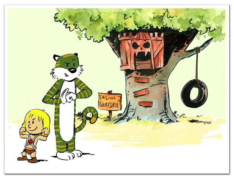 He-man meets Calvin and Hobbes by littlereddog