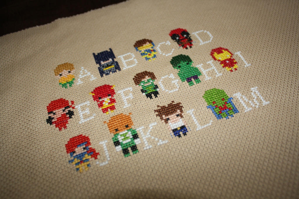 Superhero Alphabet Sampler WIP #1