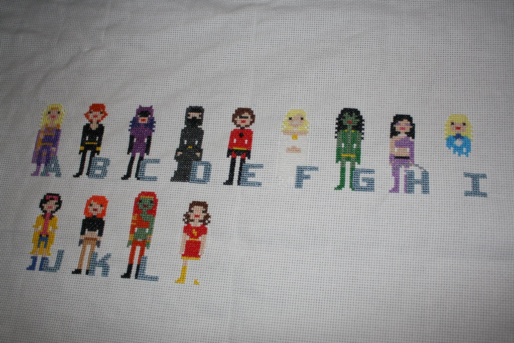 Girl Power Superhero Comic Book Alphabet WIP #1