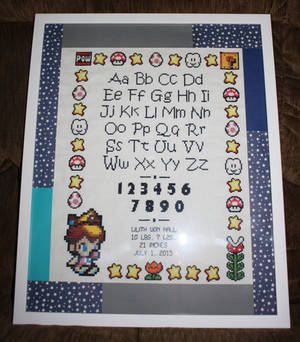 Baby Peach Birth Record FRAMED