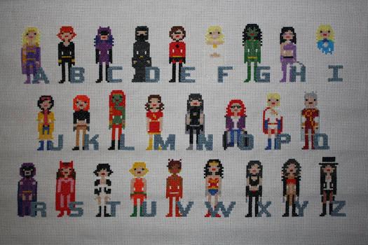 Girl Power Superhero Comic Book Alphabet WIP #3