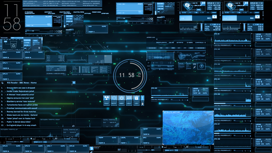 J.A.R.V.I.S. Rainmeter Desktop by akatsuki-blast