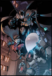 Batman and Robin VS Mr.Freeze by Furlani