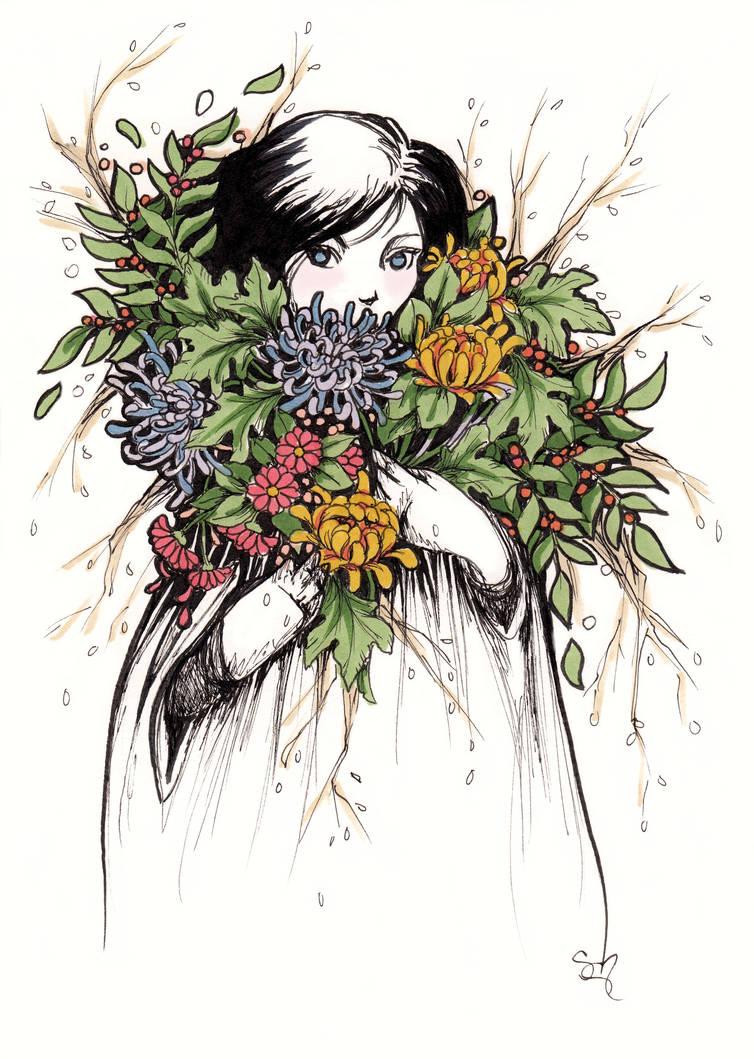 Flower Girl - Inktober #21