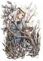 Wood Elf With Birds - Inktober #20 by ShannonValentine