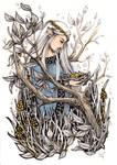 Wood Elf With Birds - Inktober #20