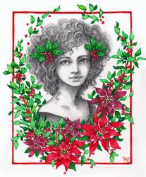 Portrait With Poinsettias