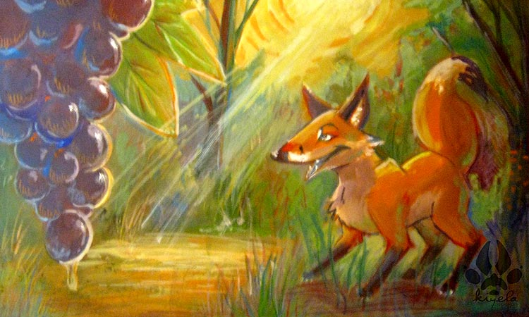 fox and grapes The fox and the grapes one hot summer's day a fox was strolling through an orchard till he came to a bunch of grapes just ripening on a vine which had been trained over a lofty branch.