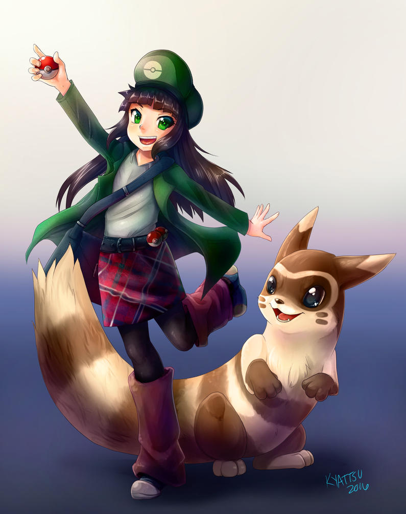 Pokemon Trainer Latiro and Furret by konekonoarashi