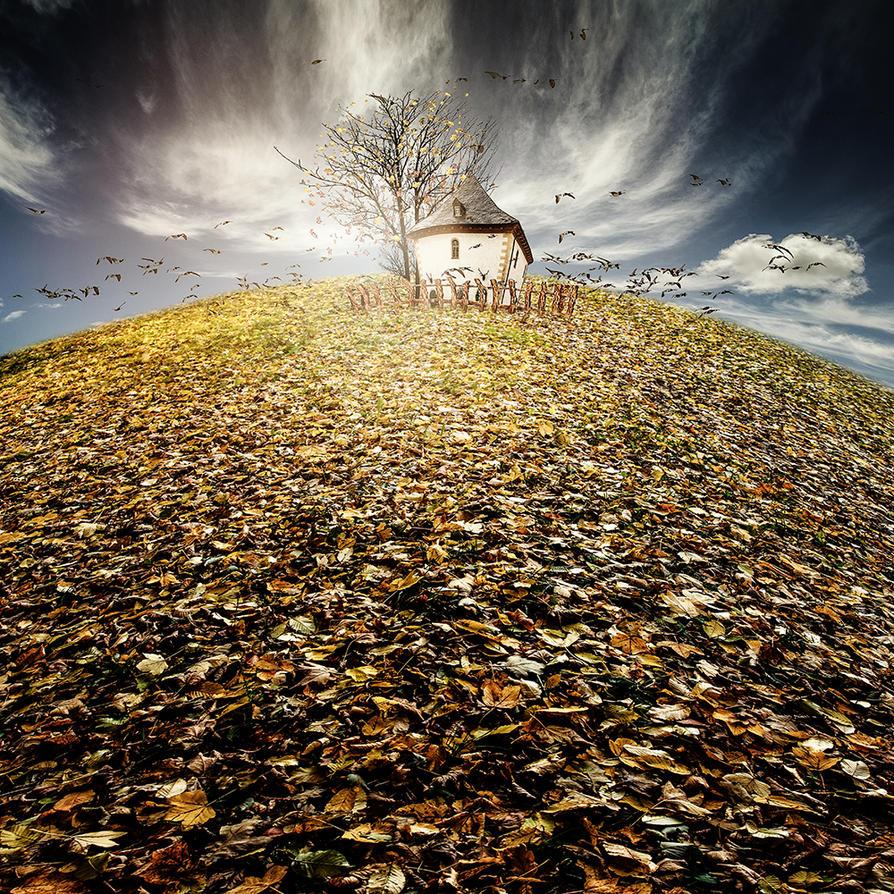 Haus im Herbst by Bildmalerin