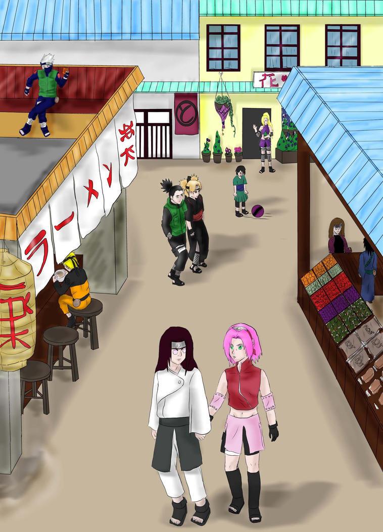 Konoha streets by studdedangel