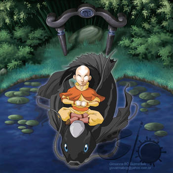 Avatar Card - Aang and Fish by giovannag