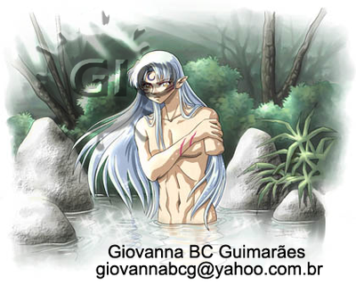 Sesshomaru in bath by giovannag