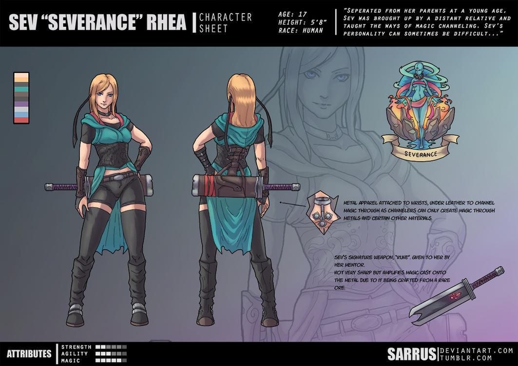 -- Character Sheet -- Sev Rhea by sarrus