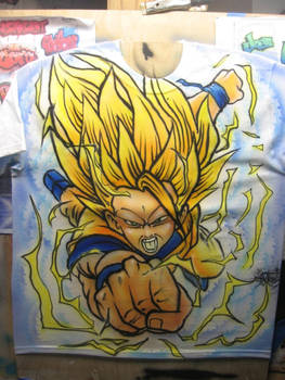 Airbrush T-shirt of Dragon-ball Z character
