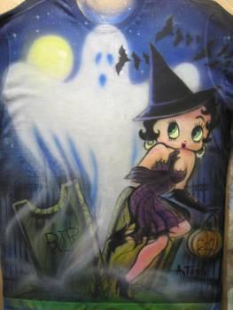 Betty Boop helloween airbrush T-shirt