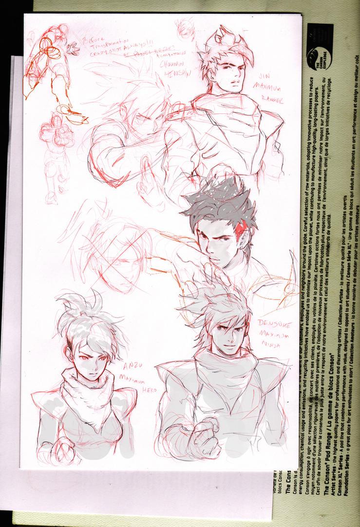 Preliminary sketches by Kandoken