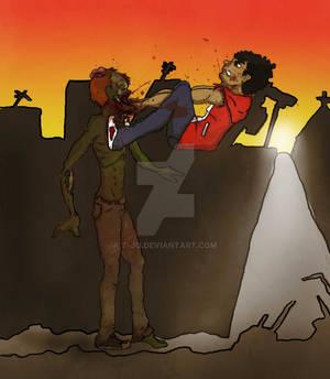 Alex shutting up a zombie