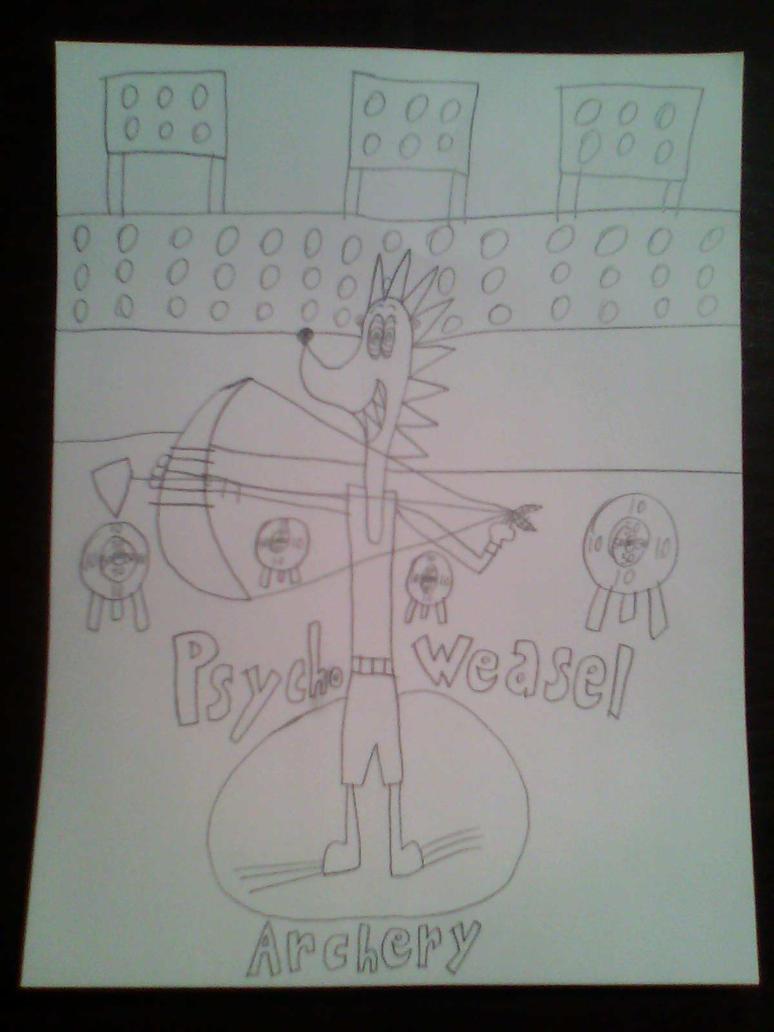 Psycho Weasel in Archery by d00mshr00m