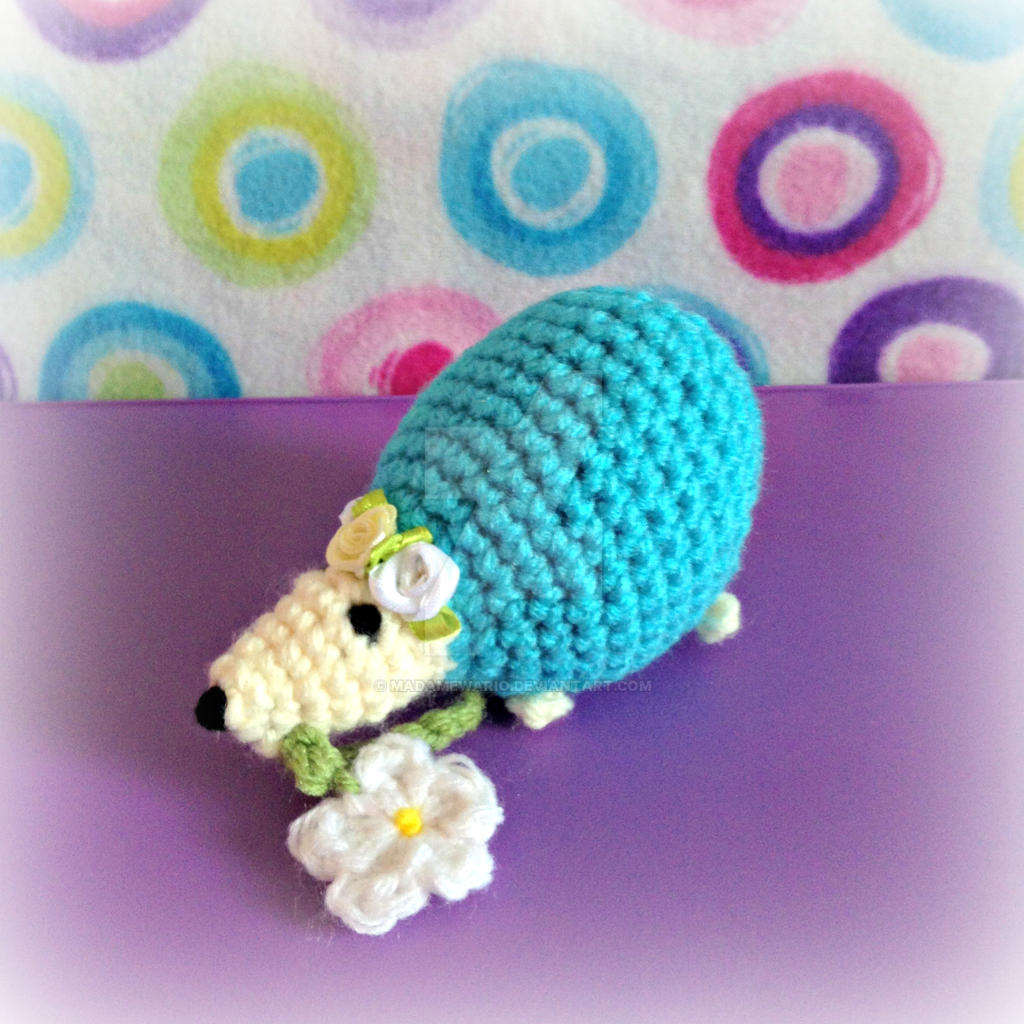 Amigurumi Crochet Flowers : Blue Amigurumi Hedgehog with Flower by MadameWario on ...