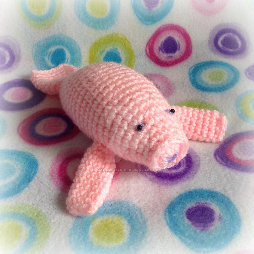 Crochet Amigurumi Manatee : Pink Manatee Amigurumi by MadameWario on DeviantArt