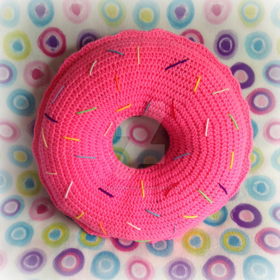 Sweet Pink-Iced Crochet Donut Pillow by MadameWario on ...