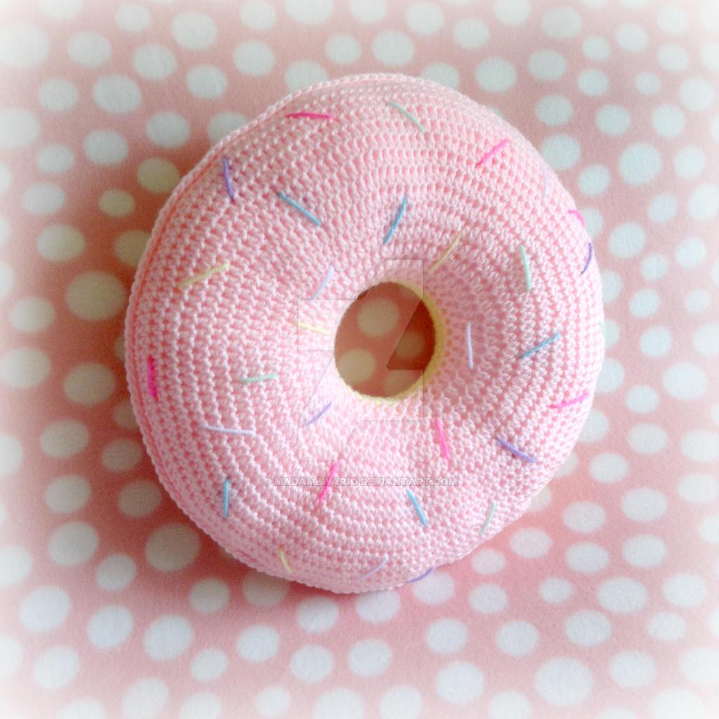 Sweet Light Pink-Iced Crochet Donut Pillow by MadameWario