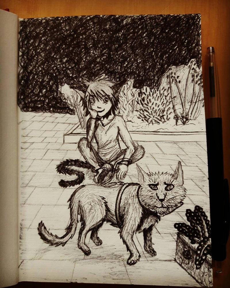 Araki's first time outside.  by trimiyn