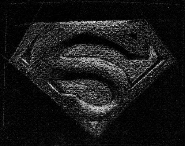 Dessin sur papier noir du symbole de superman by contk on - Symbole de superman ...