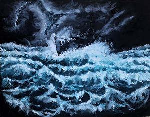 Destroyer through the storm