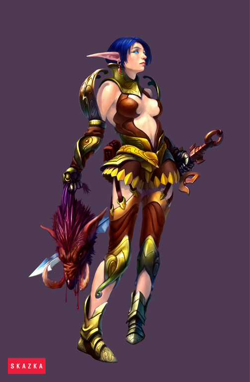 Elf warrior female by AntonZemskov