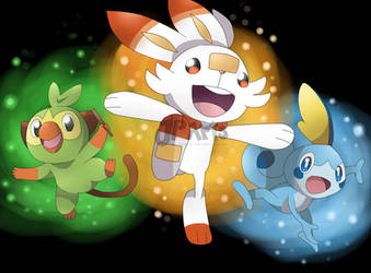 Pokemon Sword and Shield Starters by JunpeiArts