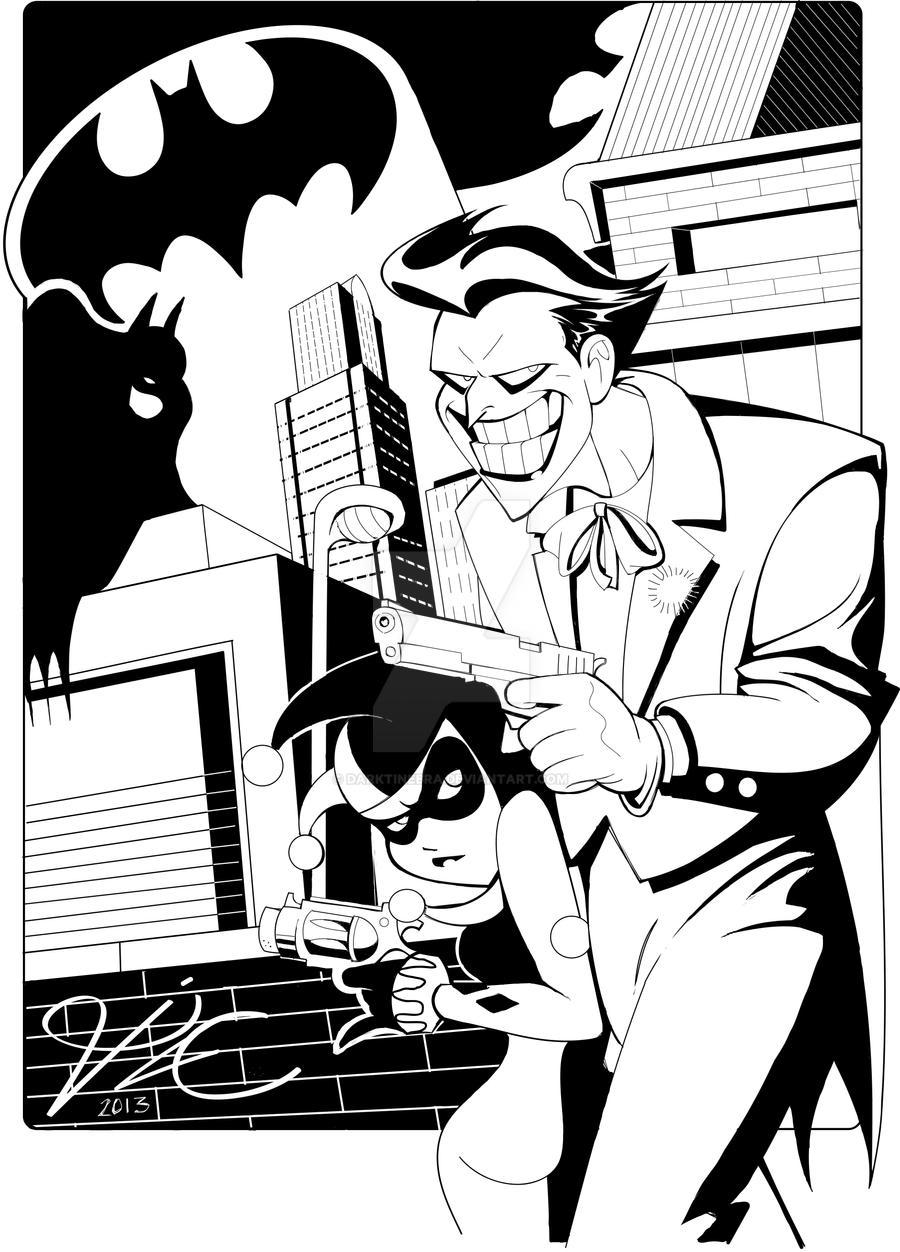 Joker and Harley in Bruce Timm style by DarkTinebra