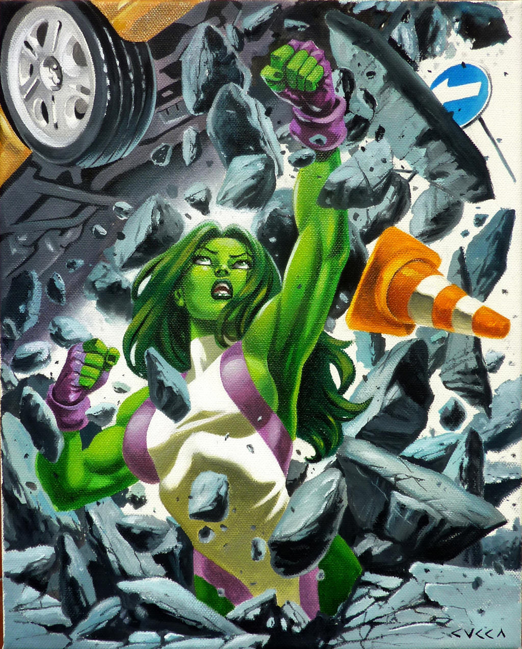 She Hulk Canvas by cuccadesign on DeviantArt: cuccadesign.deviantart.com/art/She-Hulk-Canvas-560798115