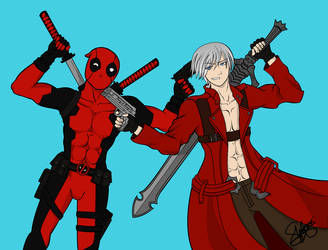 Deadpool vs Dante by MinteeGhost