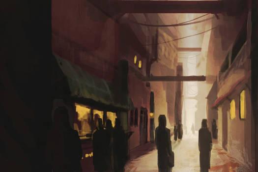 Paint Sketch: Slum Alley
